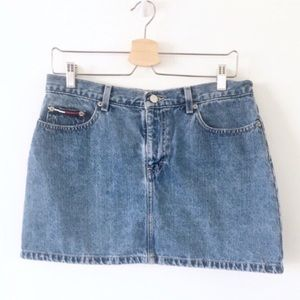 Vtg Tommy Hilfiger Denim Jean Mini Skirt Logo 90s